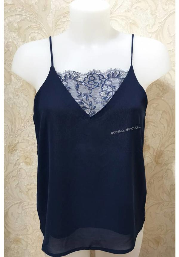 NAVY BLUE - 'KELLY' BASIC LACE TOP