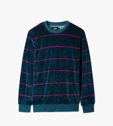 Stussy Stussy Striped Velour Crew Dark Teal