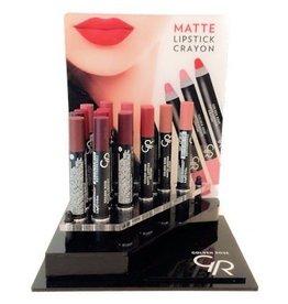 Golden Rose Crayon Matte Lipstick Display