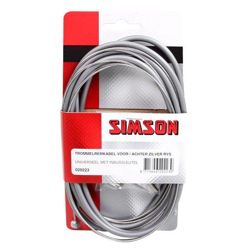 Simson Simson trommelremkabelset v/a RVS zilver