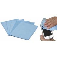 Microfibre optic/iPad-Smartphone cloth 15 x 20 cm blue (5 pcs)