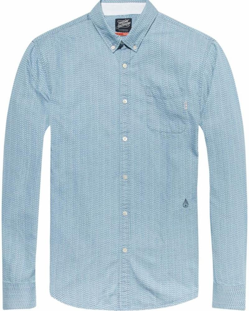 SCOTCH & SODA 141257 - Ams Blauw allover printed button down shirt - Kleur 20