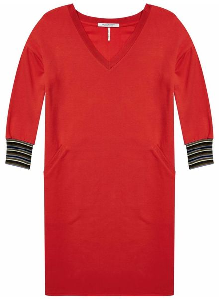 SCOTCH & SODA 143480 - V-neck long sleeve sweat dress with striped ribs - Poppy Red - 2036 - 18210188480