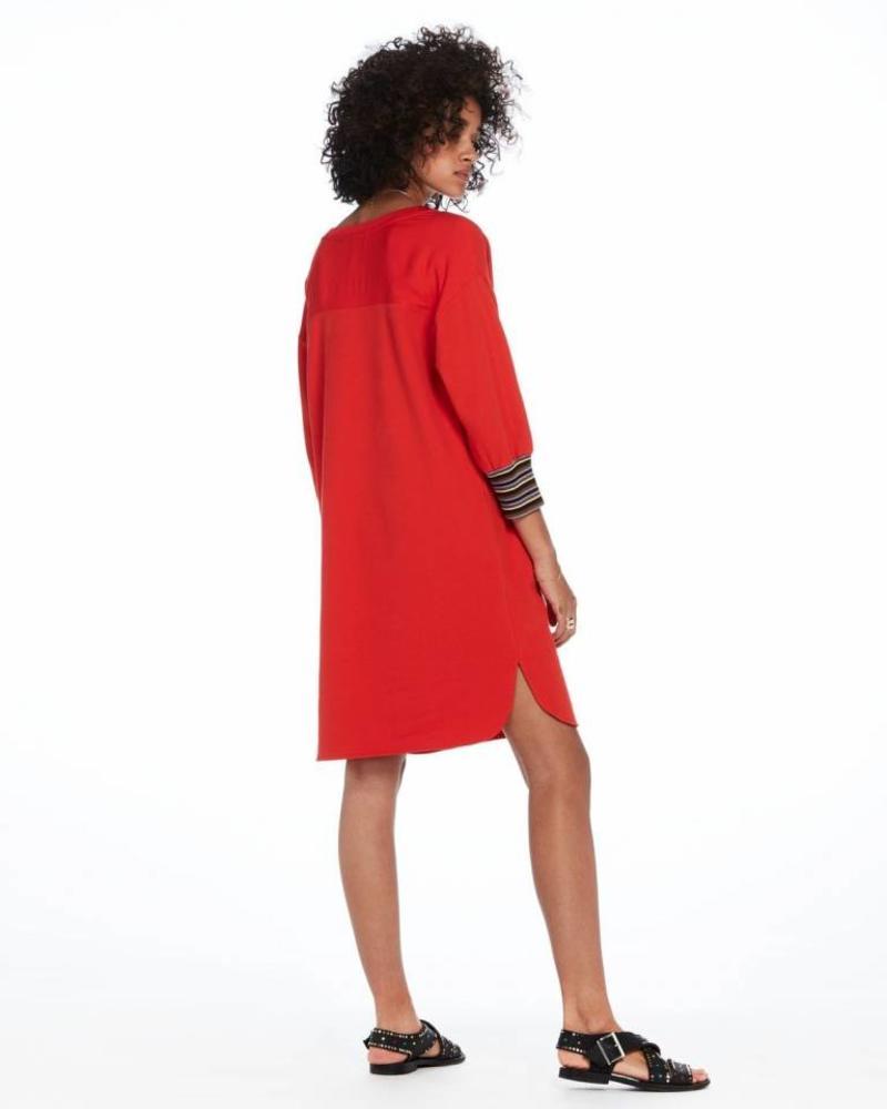 SCOTCH & SODA 143480 - V-neck long sleeve sweat dress with striped ribs - Poppy Red - 2036 - 18210188480