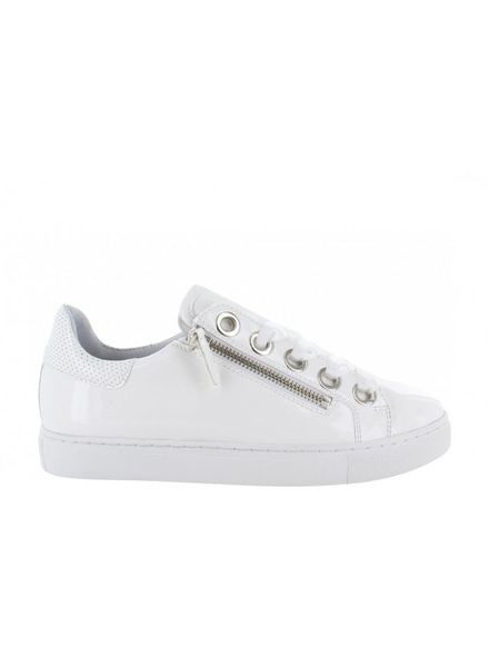 TANGO Moniek 1-c White patent zipper neaker - White sole