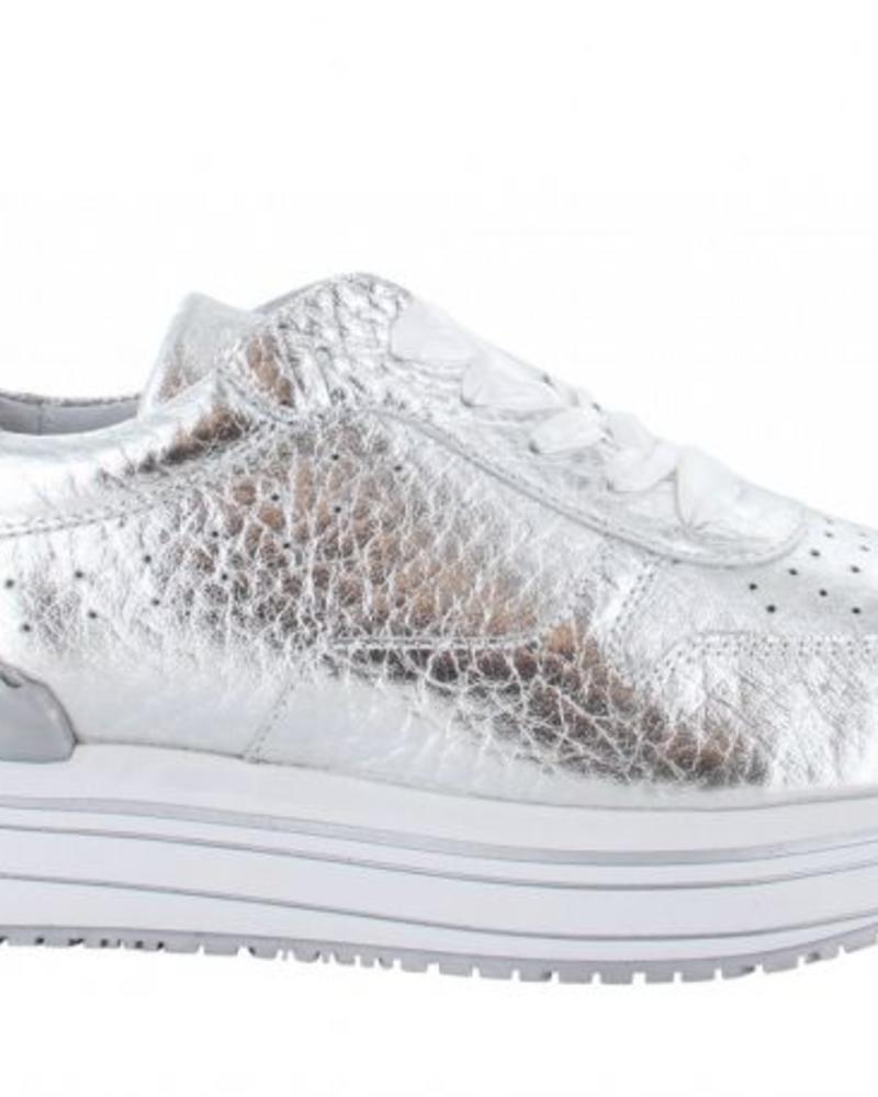 TANGO Marike 2-a Silver trublmed leather sneaker - silver/white sole