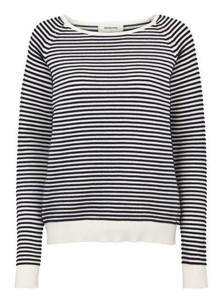 MODSTRÖM 53143 - Clarice stripe o-neck - Porcelain/Navy Night