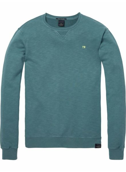SCOTCH & SODA 142567 - Classic garment-dyed crewneck sweat - Seafoam Green Melange - 2062