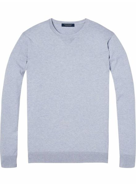 SCOTCH & SODA 142750 - Classic cotton melange crewneck pull - Lilac Melange - 830