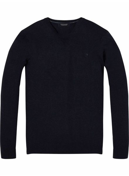 SCOTCH & SODA 142750 - Classic cotton melange crewneck pull - Midnight Melange - 818