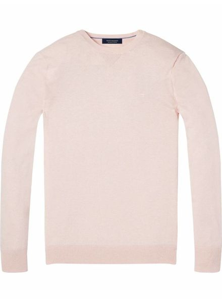 SCOTCH & SODA 142750 - Classic cotton melange crewneck pull - Old Pink Melange - 2061