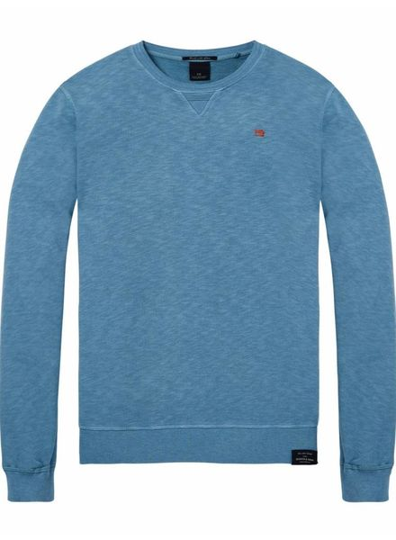 SCOTCH & SODA 142567 - Classic garment-dyed crewneck sweat - Salt Water Blue Melange - 2105