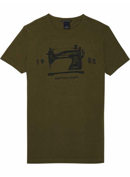 SCOTCH & SODA 142676 - Crewneck tee with logo chest artworks - Military - 360