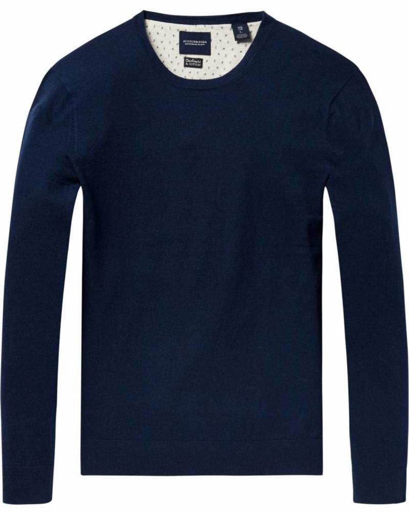 SCOTCH & SODA 141331 Kleur 0421 Ams Blauw crew neck knit in cotton cashmere quality