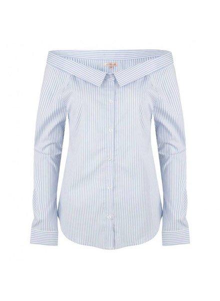 ESQUALO Blouse stripe off shoulder - blue / white