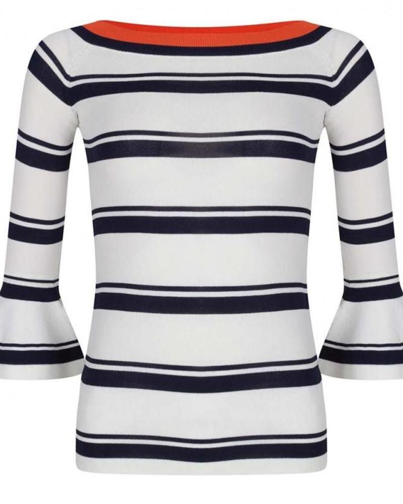 ESQUALO sweater striped contract navy/white