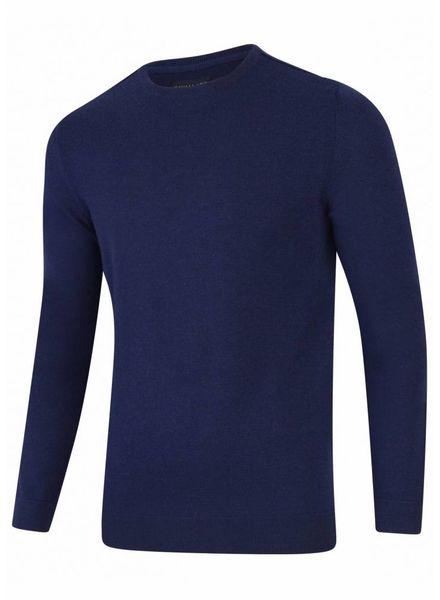 CAVALLARO Merino R-Neck Pullover - Dark Blue - 63000