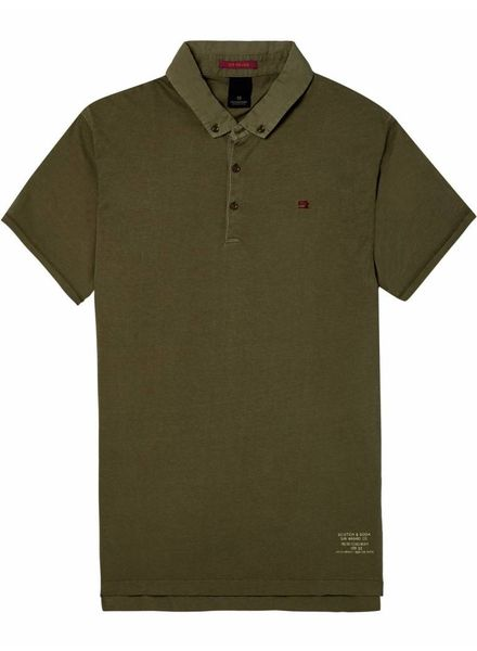 SCOTCH & SODA 142740 - Classic garment-dyed jersey polo - Army - 115