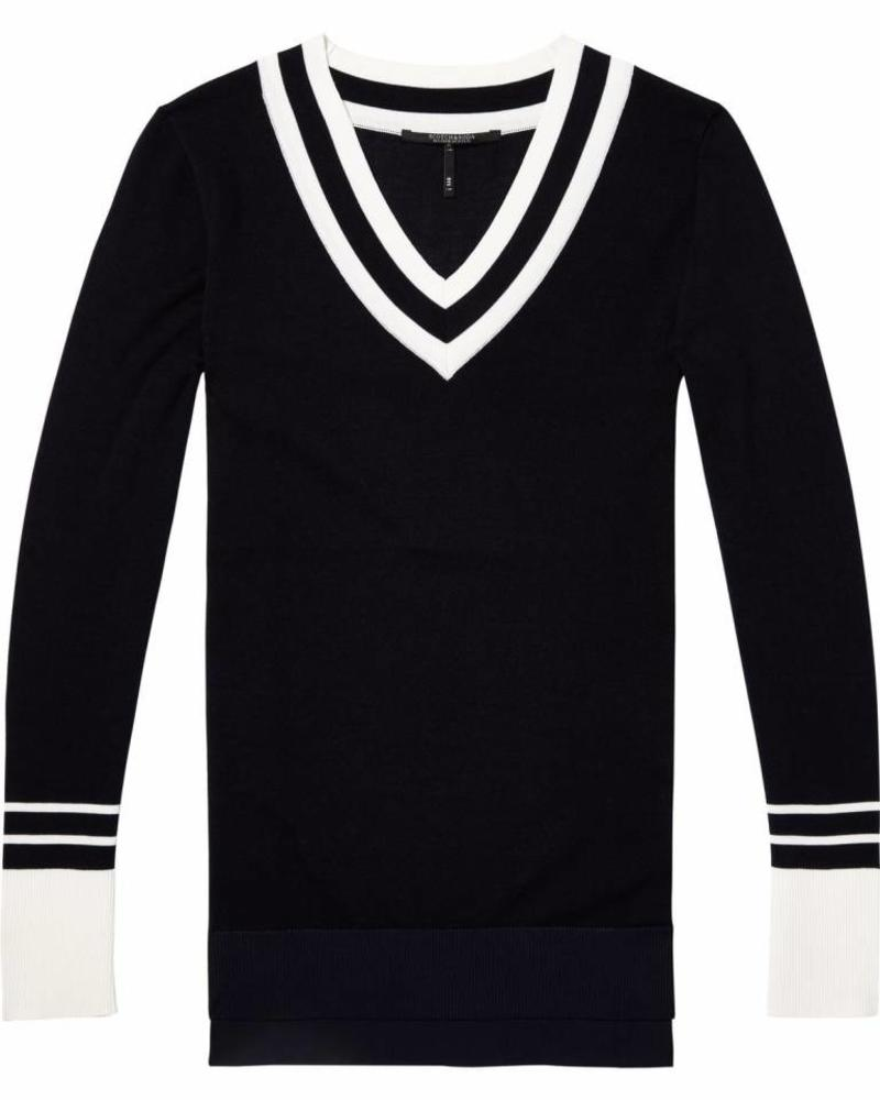 SCOTCH & SODA 143600 - Slim fit v-neck knit with sporty stripe details - Night - 2 - 18210360600