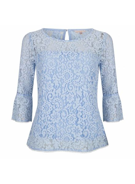 ESQUALO Blouse lace wide - Light blue