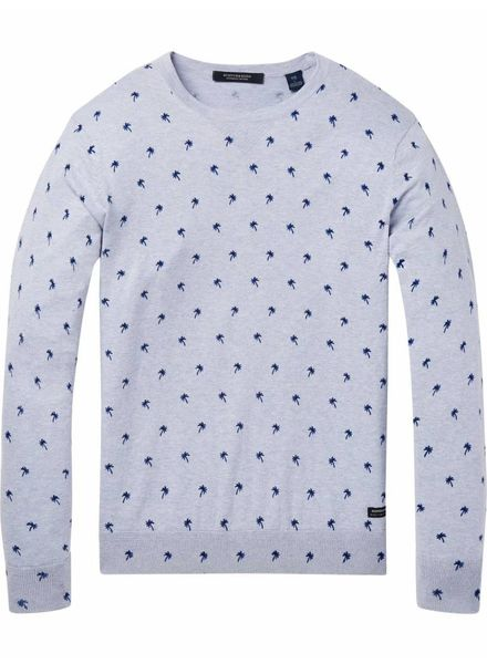 SCOTCH & SODA 142789 - Classic cotton melange crewneck pull with all-over pattern - Combo B - 218