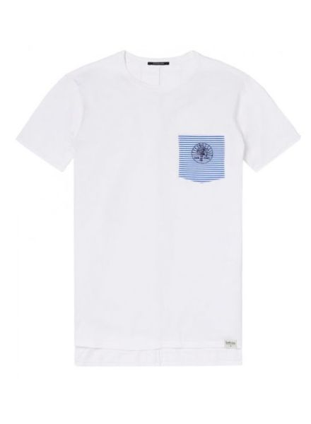 SCOTCH & SODA 142653 - Clean crewneck tee with embroidered woven pocket - White - 6