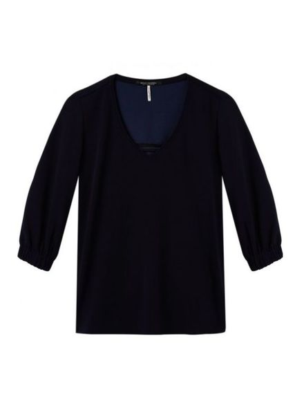 SCOTCH & SODA 143456 - V-neck stretch woven top with voluminous sleeves and subtle - Navy - 4 - 18210153456