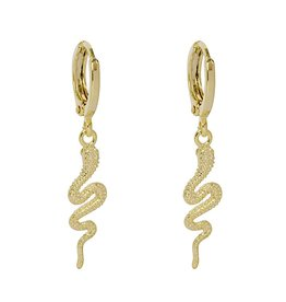 Gold Solid Snake Earrings