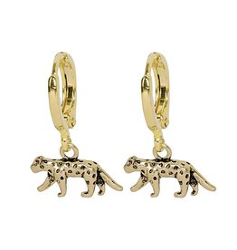 Gold Wild Leopard Earrings