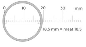 Ringmaat bepalen, manier 2