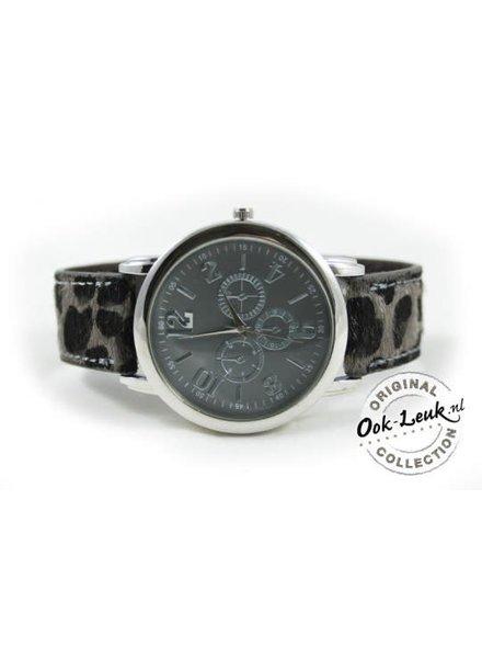 Horloge met tijgerprint grijs