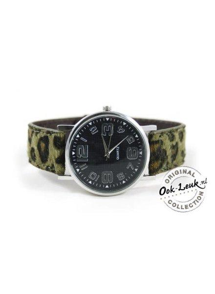 Horloge met tijgerprint groen
