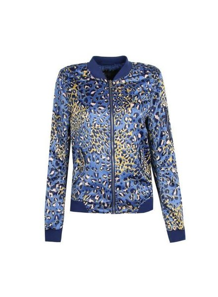 Jacket blauw met panterprint