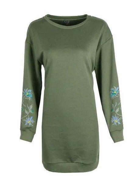 sweater lang model groen