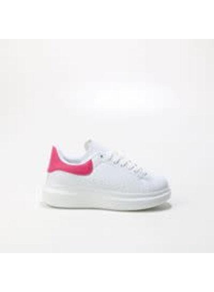 witte sneaker met roze bies