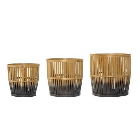 Dipped bamboe mand naturel / grijs - Small