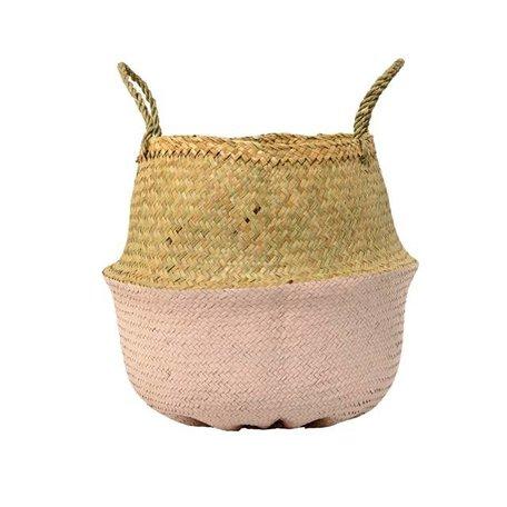 Dipped wicker basket natural / pink