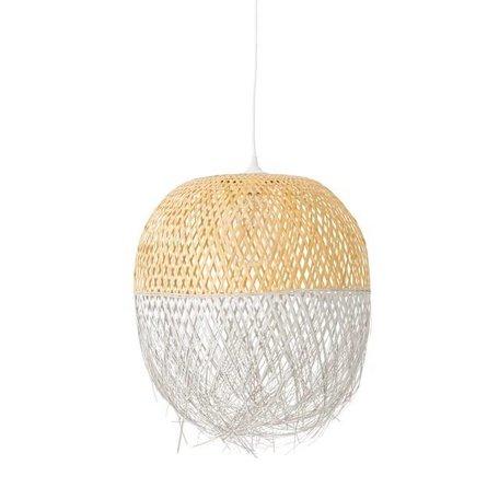 Dipped rotan hanglamp naturel / wit