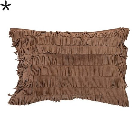 Cushion fringes - brown suede