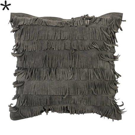 Grey suede - Cushion fringes