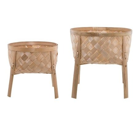 Set of 2 bamboo plant stands natural