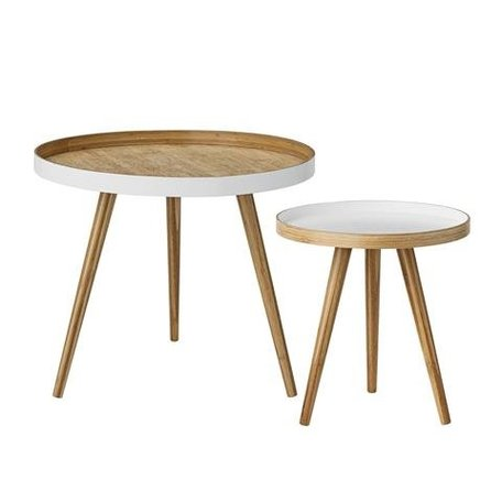 Set of 2 bamboo side tables white