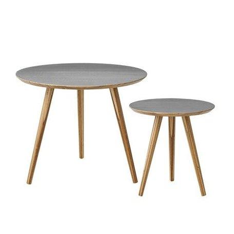 Set van 2 houten tafeltjes grijs