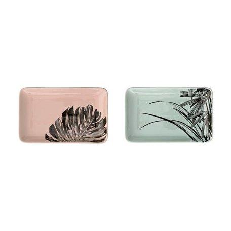 Set van 2 Sooji bordjes mint en roze
