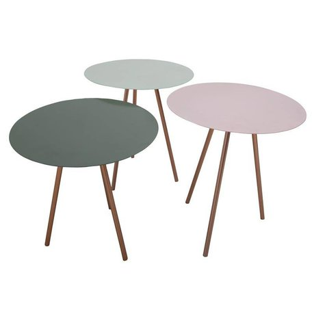 Side tables - set of 3 - pink, mint, green