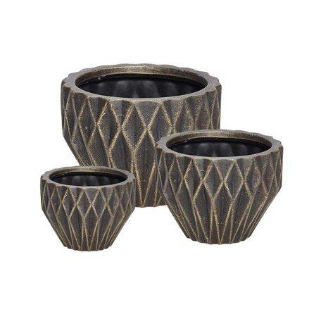 Geometric flowerpot - Black / gold - Medium