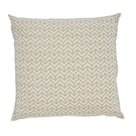 Cushion herringbone - Natural and sea green