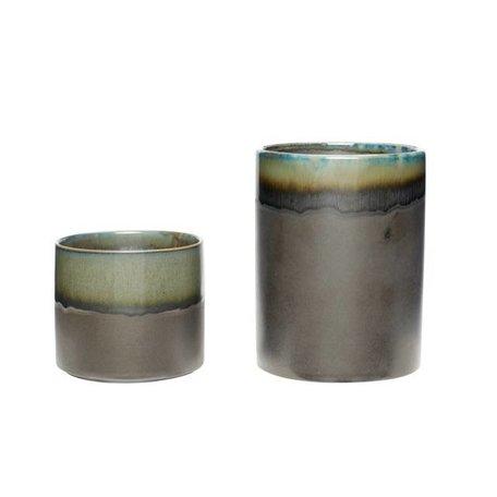 Set van 2 - Keramiek bloempotten - Groen / grijs