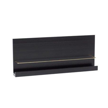 Wandplank zwart - Messing beugel