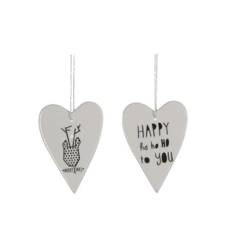 Set of 2 porcelain heart ornaments